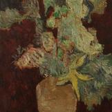 Vase de fleurs sur fonds grenat (d'après Van Gogh) - 1903-1905